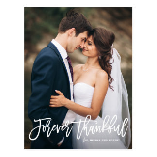 Forever Thankful Lettering Wedding Thank You II Postcard