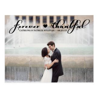 Forever Thankful Script Wedding Thank You Postcard