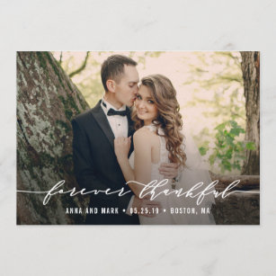 Forever Thankful Wedding Thank You Photo Card