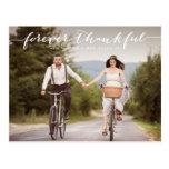 Forever Thankful | White Script Wedding Thank You Postcard at Zazzle