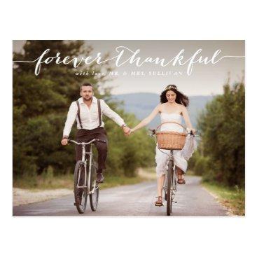 Beach Themed Forever Thankful | White Script Wedding Thank You Postcard