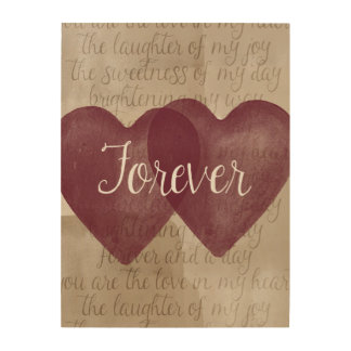 Forever Watercolor Hearts Wood Print