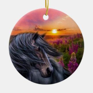 Forever Wild Black Horse Ceramic Ornament