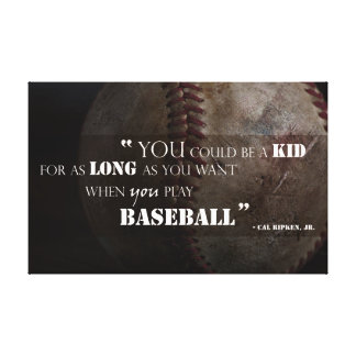 Forever Young Baseball Quote Canvas