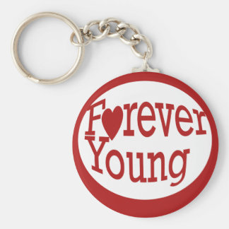 Forever Young Basic Round Button Keychain