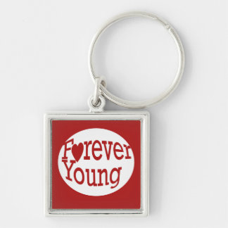 Forever Young Silver-Colored Square Keychain