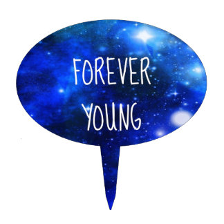 Forever Young Space Galaxy Cake Topper