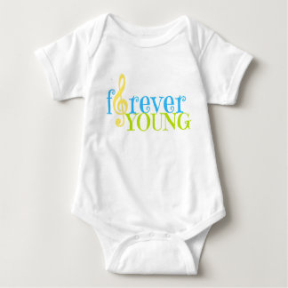 Forever Young with G clef (music note) Baby Bodysuit