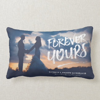 Forever Yours Dry Brush Typography Photo Template Lumbar Pillow