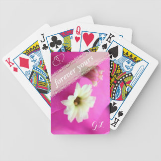 Forever yours pink/purple colored cactus flower bicycle playing cards
