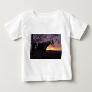 ForeverMorgans Black Horse in Purple Sunrise Baby T-Shirt