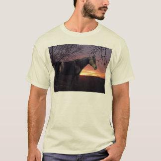ForeverMorgans Black Horse in Purple Sunrise T-Shirt