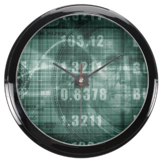 Forex Trading Online and with US Dollar Graph Aqua Clock