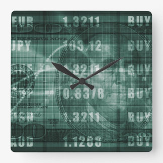 Forex Trading Online and with US Dollar Graph Square Wall Clocks