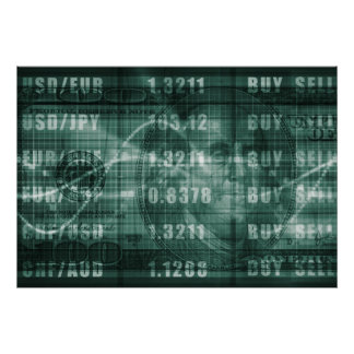Forex Trading Online and with US Dollar Graph Poster