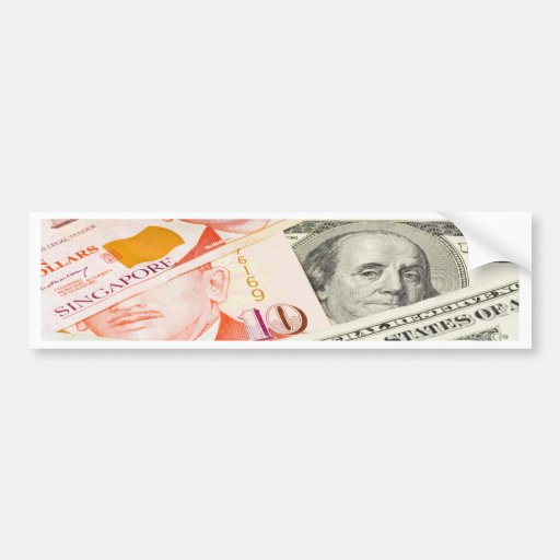 Forex - US and Singapore currency pair Car Bumper Sticker