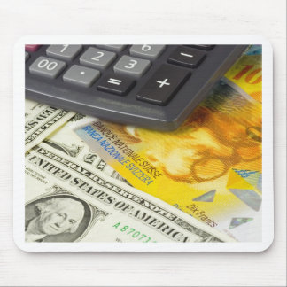Forex - US and Swiss currency pair with calculator Mouse Pad