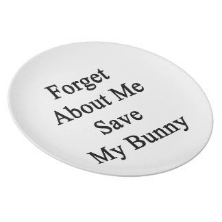 Forget About Me Save My Bunny Dinner Plate