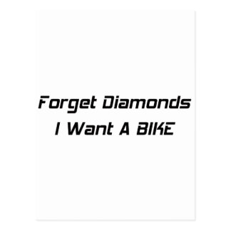 Forget Diamonds I Want A Bike Postcard