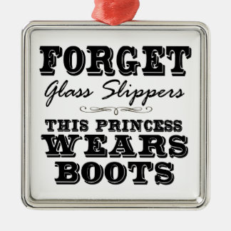 Forget Glass Slippers, This Princess Wears Boots Metal Ornament