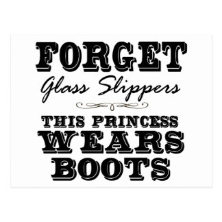 Forget Glass Slippers, This Princess Wears Boots Postcards