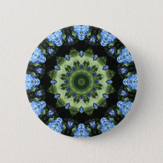 Forget Me Not 001 02.1 Forgetmenot, Nature Mandala Pinback Button