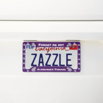 Forget me not Alzheimer disease purple License Plate Frame