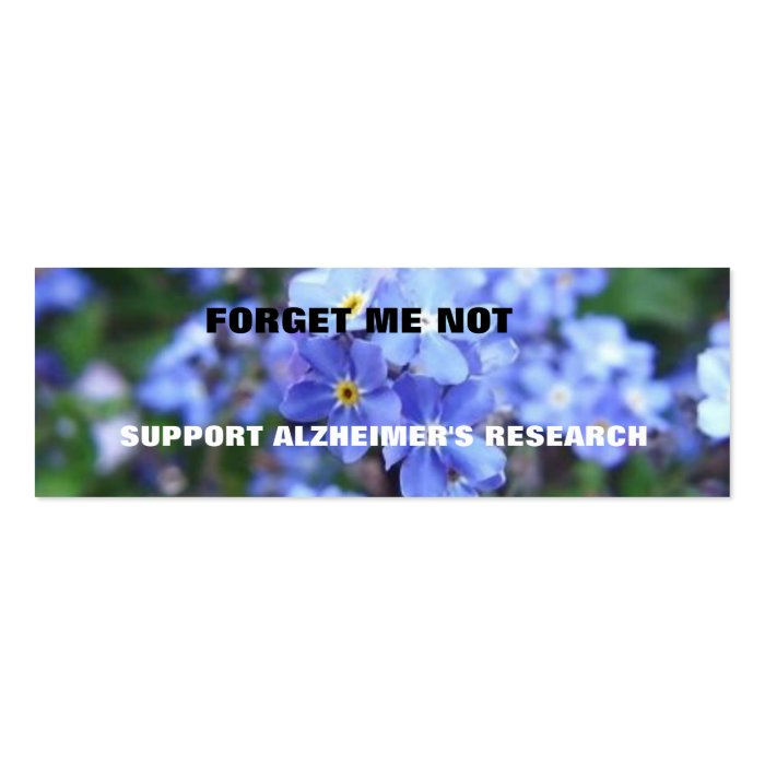 FORGET ME NOT ALZHEIMER S BOOKMARK MINI BUSINESS CARD
