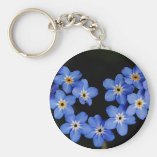 Forget me not basic round button keychain