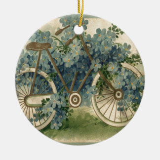 Forget Me Not Bicycle Birthday Ceramic Ornament