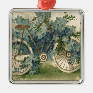 Forget Me Not Bicycle Birthday Metal Ornament