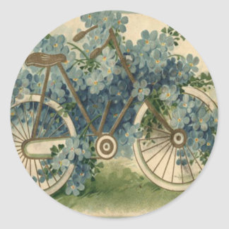 Forget Me Not Bicycle Birthday Round Stickers