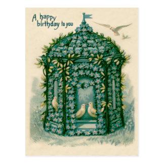Forget-Me-Not Birdhouse Dove Postcard