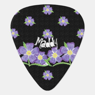 Beach Themed Forget-me-not black personalized guitar pick