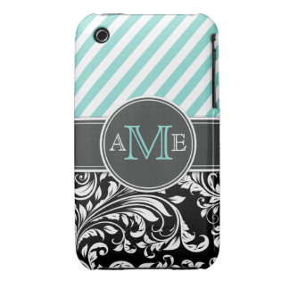 Forget me not blue with black and white damask iPhone 3 Case-Mate cases
