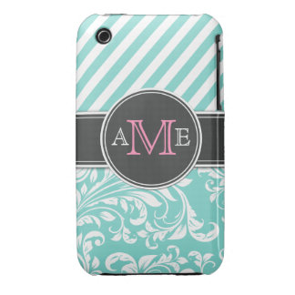 Forget me not blue with Pink Monogram iPhone 3 Case