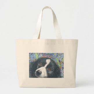 Forget me not Border Collie dog Tote Bags