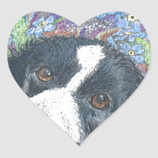 Forget me not Border Collie dog Heart Sticker