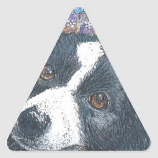 Forget me not Border Collie dog Triangle Sticker