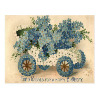 Forget Me Not Car Model T Birthday Postcard