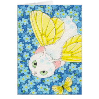 Forget-me-not Cat Fairy Notecard Moussart Cards