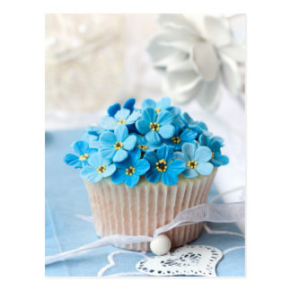 Forget-me-not cupcake postcard