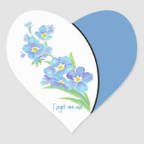 Forget me not Custom Watercolor Garden Flower Heart Sticker