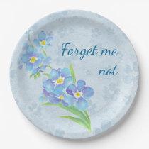 Forget me not Custom Watercolor Garden Flower Paper Plate