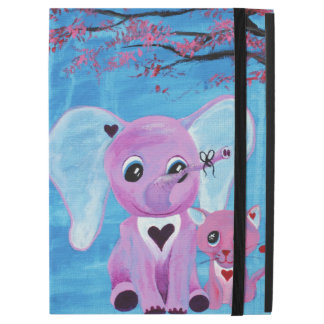 Forget Me Not Cute Elephant Cat Cherry Blossom Art iPad Pro Case