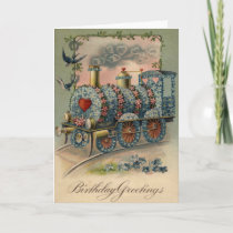 Forget Me Not Daisy Train Songbird Heart Card