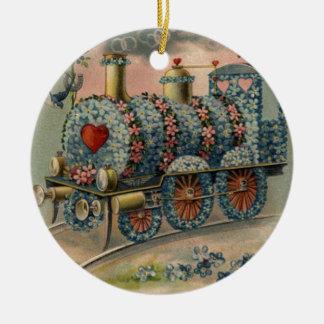Forget Me Not Daisy Train Songbird Heart Ceramic Ornament