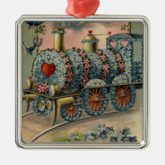 Forget Me Not Daisy Train Songbird Heart Metal Ornament