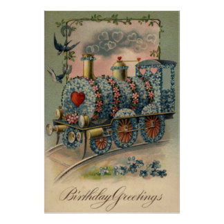 Forget Me Not Daisy Train Songbird Heart Poster