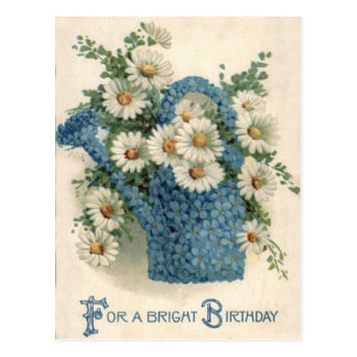 Forget Me Not Daisy Watering Can Postcard